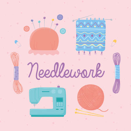 needlework machine wool ball pins and handmade clothes vector illustration