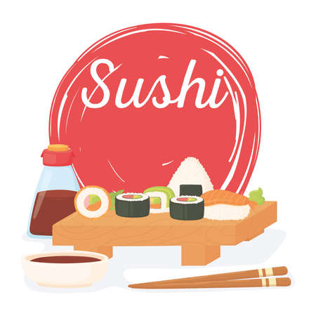 sushi time, rolls sauce japanese traditional cuisine poster vector illustration