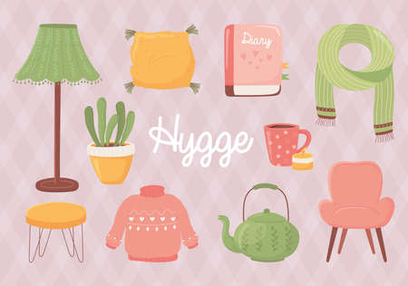 cartoon hygge sweater chair cup teapot plant cushion and book style vector illustration
