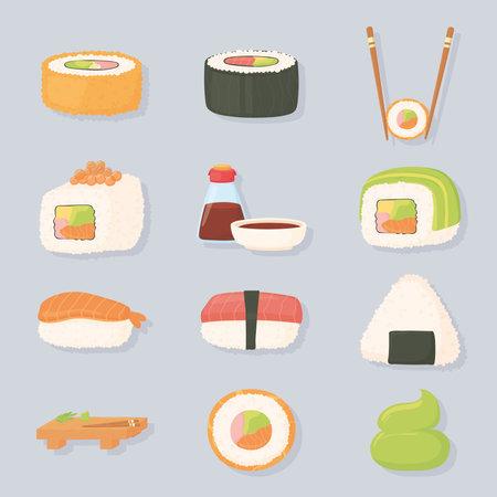 sushi time sauce trout fish, tuna, salmon and caviar vector illustration