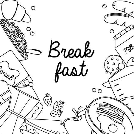 breakfast fried egg bacon croissant apple cookie cereal fresh food and drinks vector illustration line style Ilustrace