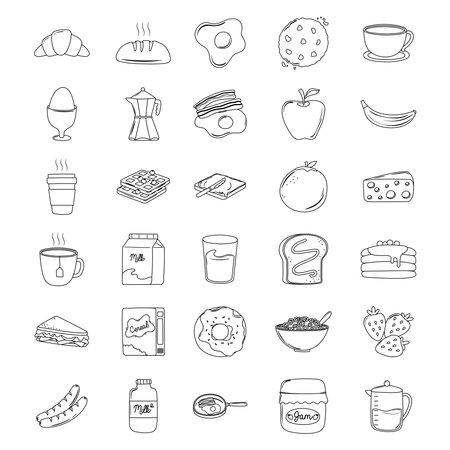 breakfast icons set, croissant bread juice fruits sandwich milk pancakes vector illustration line style Ilustrace