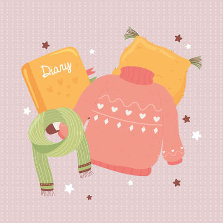 sweater scarf book and cushion, cartoon hygge style vector illustration