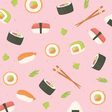 sushi seafood rolls chopsticks japanese food culture background vector illustration Ilustrace