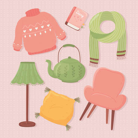 set icons lamp teapot sweater chair scarf, cartoon hygge style vector illustration