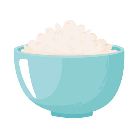 bowl with milk oats, dairy product cartoon icon vector illustration