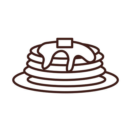 breakfast pancakes with syrup on plate line style vector illustration