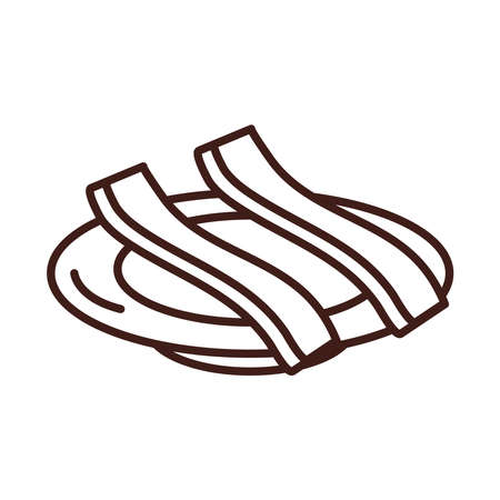 breakfast slices of bacon on saucer line style vector illustration
