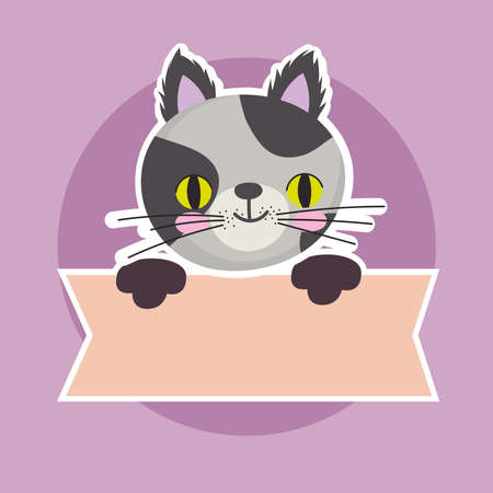 cute spotted cat feline animal with banner, pet cartoon vector illustration Vettoriali