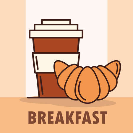 breakfast takeaway coffee cup and croissant line and fill style vector illustration