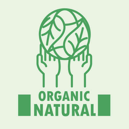 hands with world leaves organic natural green line style vector illustration