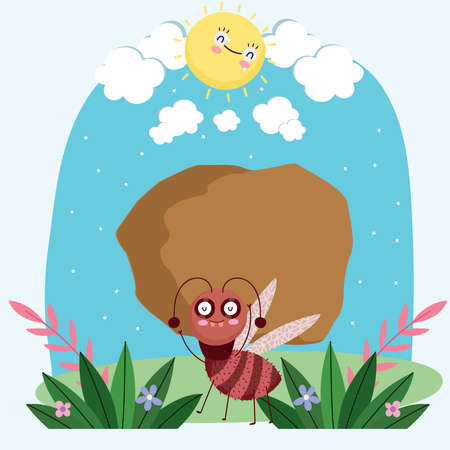 funny bug with stone in grass animal cartoon vector illustration