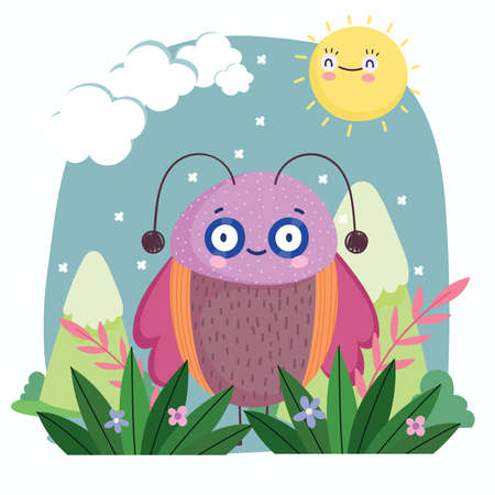 funny bug with pink wings animal mountains sky cartoon vector illustration