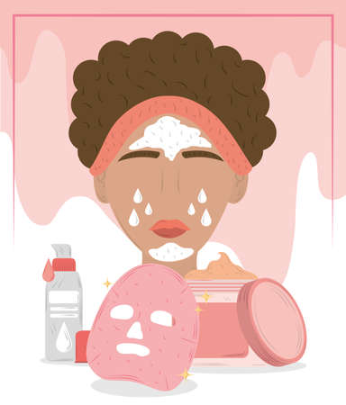 woman with cosmetic face mask, cleansing treatment and beauty routine vector illustration Иллюстрация