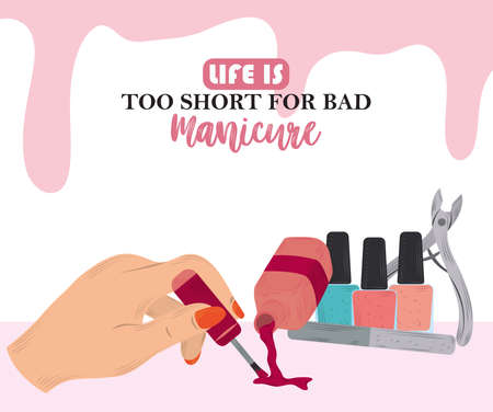 manicure, female hand pouring nail polish in cartoon style vector illustration