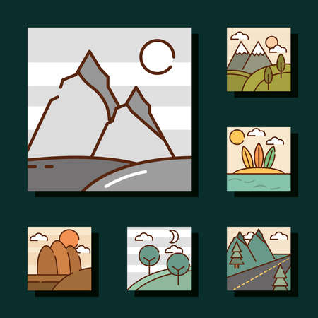 landscapes nature mountains peak desert forest tropical cartoon, icons set line and fill vector illustration