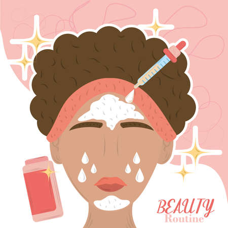 cartoon woman apply skin care products, beauty routine vector illustration
