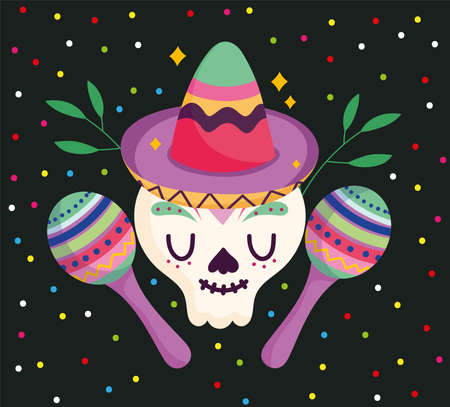 mexico day of the dead skull with hat and maraca festive culture traditional vector illustration