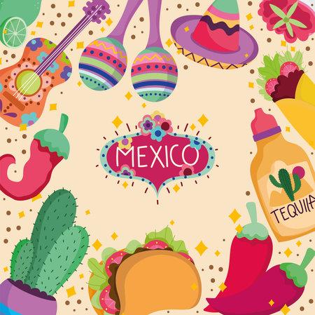 mexico culture traditional tequila food guitar maraca cactus decoration background vector illustration Ilustración de vector