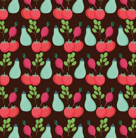 food pattern, tomatoes zucchini radish fresh vegetables organic black background vector illustration