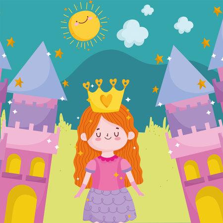 princess tale adorable cartoon castles fantasy vector illustration