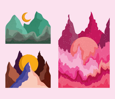 abstract landscape icon set, mountains waves moon sun watercolor image vector illustration