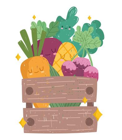 wooden basket with fresh vegetables carrot corn beetroot cartoon vector illustration