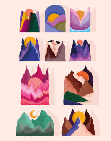 abstract landscape icon set, mountains peaks sun and nice color vector illustration