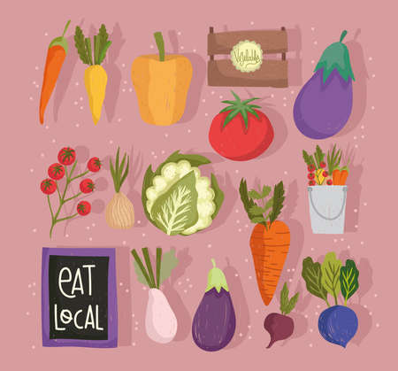 eat local fresh food vegetables healthy and nutrition icons vector illustration
