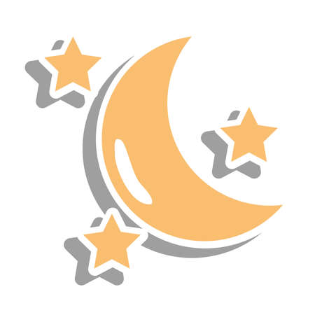 Moon with stars sticker of night bedtime sky space moonlight nature light lunar and science theme Vector illustration