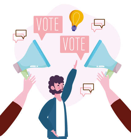 vote people with megaphone advertising elections vector illustration 免版税图像 - 162485964