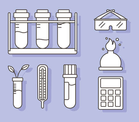 chemistry science test tubes thermometer calculator burner and glasses, line style vector illustration