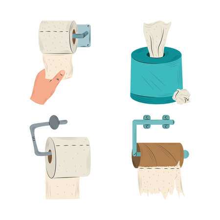 toilet paper rolls in holder and tissue box collection vector illustration