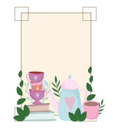 Tea time cute kettle cups on books flowers leaves frame decoration vector illustration