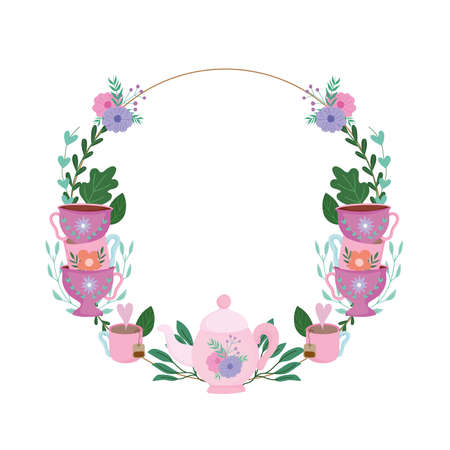 Tea time, floral wreath cups decoration flowers and leaves vector illustration