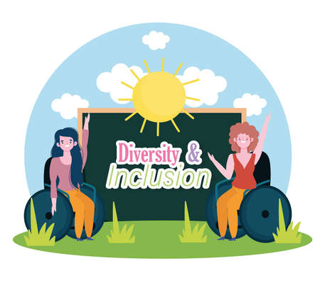 disabled girls sitting in a wheelchair, inclusion to school vector illustration