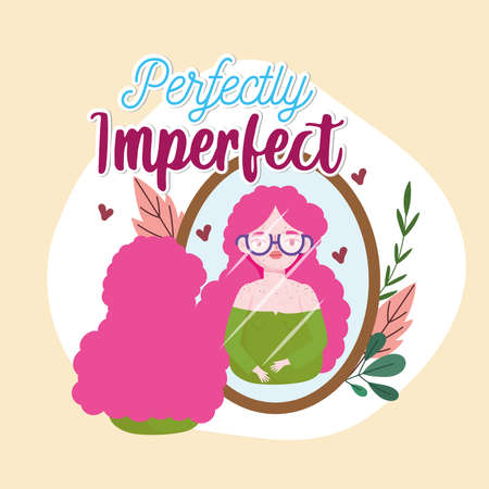 Perfectly imperfect woman with freckles looks in the mirror vector illustration
