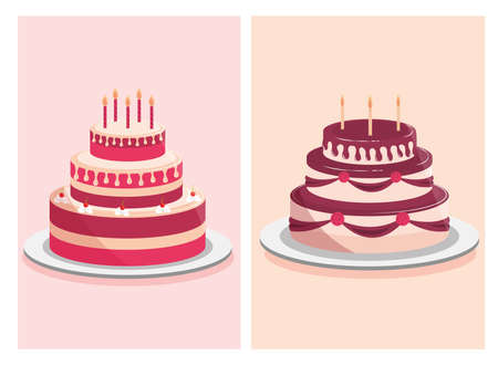birthday cakes sweet cream and decorative candles vector illustration