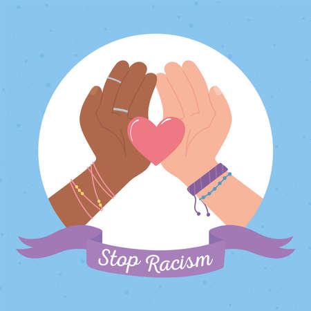 black lives, diverse skin color hands in community unit love vector illustration Ilustração