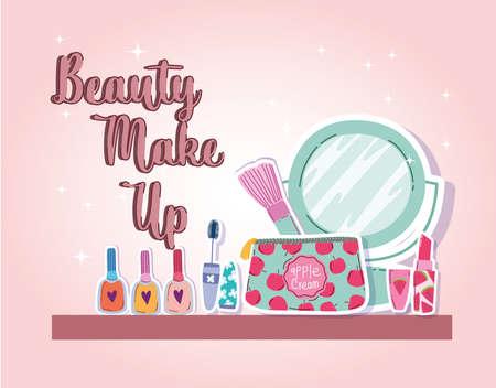 beauty makeup mirror brush lipstick mascara and nail polish vector illustration