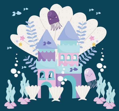 castle fantasy jellyfish seashells algae and fishes vector illustration cartoon