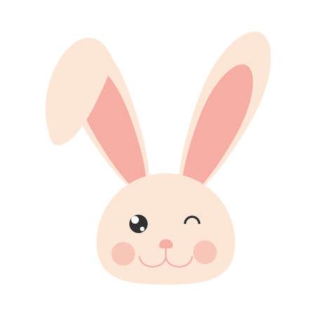 rabbit face wink animal cartoon