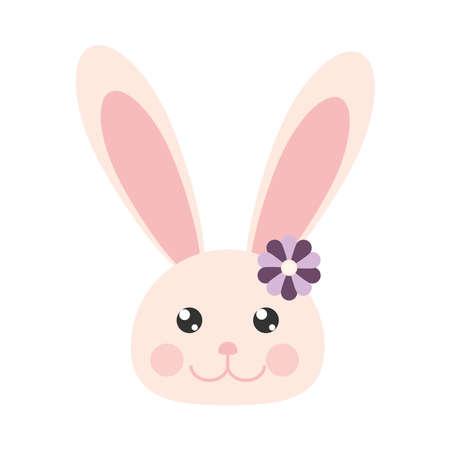 rabbit face flower cartoon isolated Illusztráció