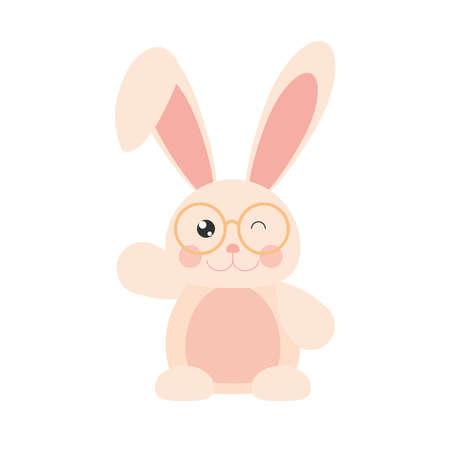 rabbit with glasses cartoon animal Illusztráció