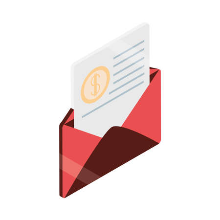 payment envelope voucher banking isometric Illusztráció
