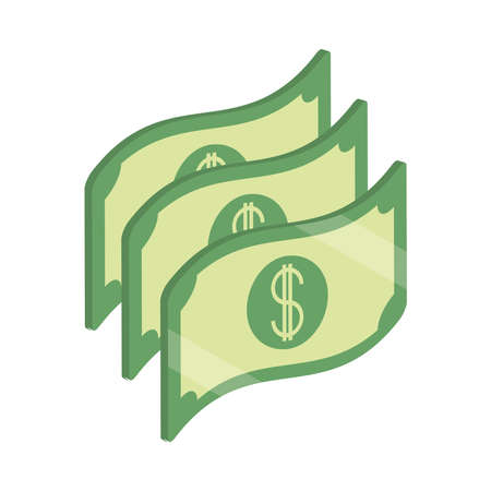 money banknote cash currency isometric