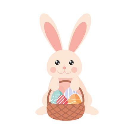 easter rabbit eggs basket cartoon Illusztráció