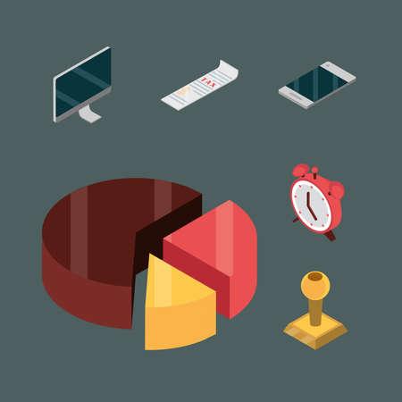 set taxes chart clock digital isometric