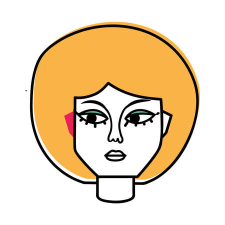 blond woman face hand drawn