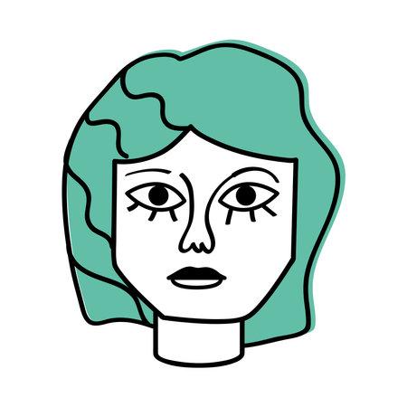 woman painting surreal face abstract Illusztráció